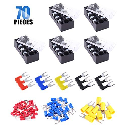 Glarks 70Pcs(5Sets) Terminal Block Set, 5Pcs 3 Positions 600V 15A Dual Row Screw Terminals Strip + 5Pcs Pre-Insulated Barrier Strips + 60Pcs Insulated Fork Wire Connector (3P+Fork Connector)