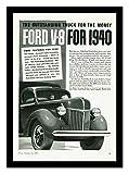 8 x 10 Framed Print 1940 Ford V8 Truck Vintage Old Advertising Campaign Ads