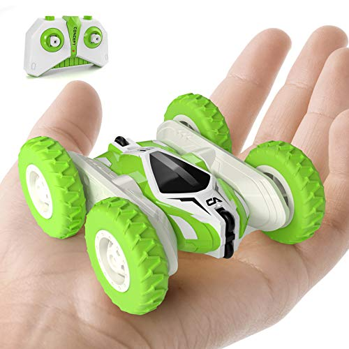 Tecnock Mini Stunt Car, 4WD Remote Control Car Double Sided Flips RC Car, 2.4Ghz Rechargeable 360° Rotating Vehicles, Kids Toy Cars for Boys & Girls Birthday (A)
