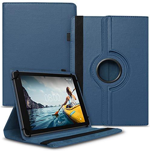 UC-Express Tablet Hülle kompatibel für Medion Lifetab P8502 Tasche Schutzhülle Hülle Cover aus Kunstleder Standfunktion 360° Drehbar, Farben:Blau