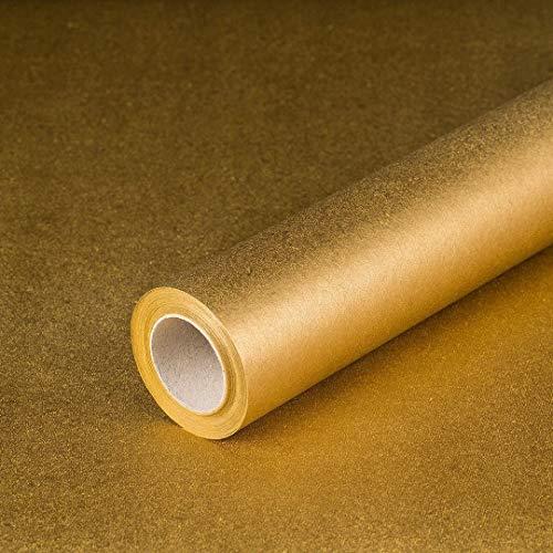 Geschenkpapier Gold, Recyclingpapier, glatt, 80 g/m², Geburtstagspapier, Weihnachtspapier - 1 Rolle 0,70 x 10 m