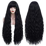 Geplaimir Perücke Schwarz Damen mit Pony Lang Locken Perücken für Frauen/Mädchen/Afro Natürliche Perucken Party/Kostüm Black Wig R015C