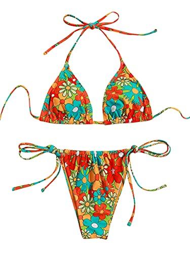 SOLY HUX Women's Floral Print Halter Triangle Tie Side Bikini Set Two Piece Swimsuits Multi Flower M