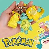 Zking 3 Piezas Pokemon Figura De Acción Pikachu Llavero Pokémon Llavero Squirtle Psyduck Llavero Modelo Llavero De Coche