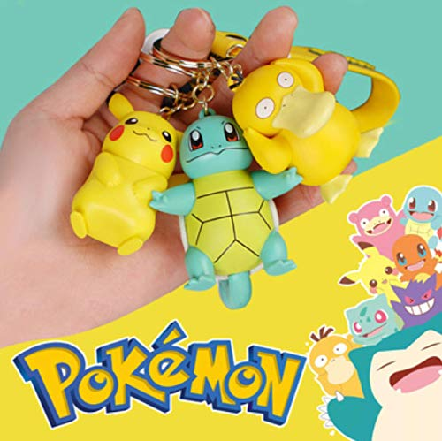 Zking 3 Piezas Pokemon Figura De Acción Pikachu Llavero...