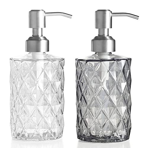 FUFRE 2 Piezas Botella de Jabón de Vidrio Rellenable Dispensador de Jabón Líquido, Dosificador de Jabón de Manos para Loción, Champú, Baño, Cocina (Plata)