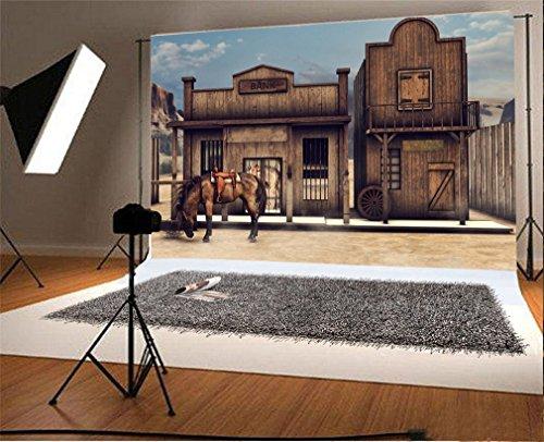 YongFoto 2,2x1,5m Vinyle Toile de Fond Far West Maison Banque Building Western Retro Maison Maison Rustique en Bois Fond Décors Studio Photo Portrait Enfant Video Fete Mariage Photographie Accesorios