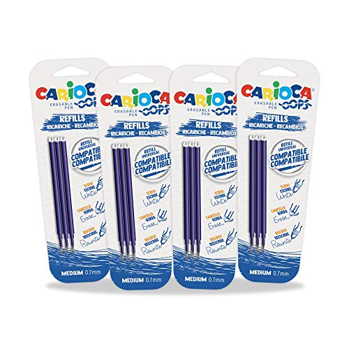 CARIOCA SET REFILL OOPS | 53228 - Confezione Ricambi per Ricarica Penna Cancellabile, Refil Compatibili, Blu, 12 pezzi