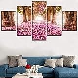 Non-branded MuzimuziliModular Art Poster Canvas Print 5 Piezas Alley Blossom Park Sakura Tree Paintings Decor Living Room Home Wall Picture-80X150Cm Sin Marco