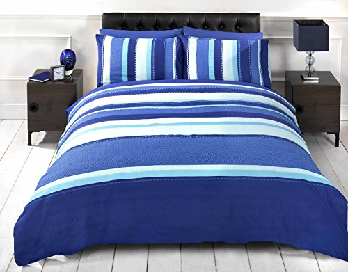 Signature Striped Adults Teenagers Quilt Duvet Cover and 2 Pillowcase Bedding Bed Set, Blue, Double