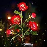 Eyscoco Rose Blume Solarleuchte,Beleuchtung Außen Solarleuchte Garten,Solar Garten Lampen mit LED Rose Lichter für Außen, Garten,Balkon,Balkonkasten und Terrasse Dekoration (rot)