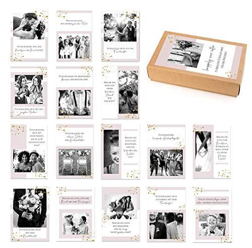 72 kreative Fotoaufgaben für unvergessliche Hochzeitsfotos/Fotokarten/Hochzeit Fotoideen/Hochzeitsspiel/Schön, dass du da bist-Karten/auch sehr beliebt als Hochzeitsgeschenk - DIN A7