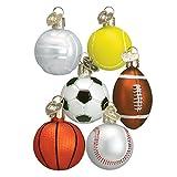 Old World Christmas Ornaments: Asst Miniature Sport Balls Glass Blown Ornaments for Christmas Tree