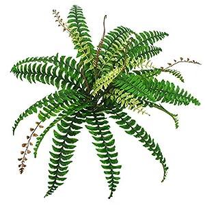Lanldc Artificial Boston Fern Bush Faux Fern with Wicker Decorative Silk Plant, Green – 23″ Tall