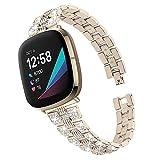 Compatibile con Fitbit Versa 3 Band da donna, cinturino regolabile compatibile con Fitbit Versa3 Smart Watch. e Acciaio inossidabile, colore: Oro champagne