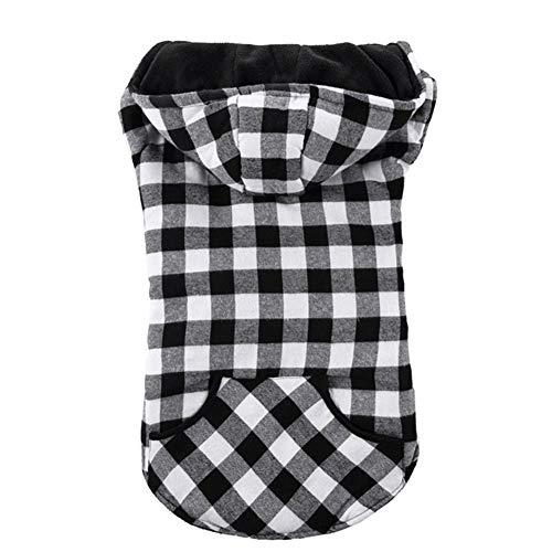 Kalmerende Bed Plush Warme Fleece Classic Plaid Hond Jas Zak Herfst Winter Dog Kleding Easy to Put/Take Off Dog Tag (Color : Black White, Size : M)