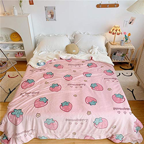 XUMINGLSJ Flannel Fleece Throw Blankets Travel Size - Super Soft Fluffy Warm Solid Bed Throws for Sofa Microfiber Blanket -powder_200*230cm