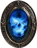 BNGXR Halloween Decoracion Espejo, Ovalado Espejo Parlante Embrujado Retro con Imagen Espeluznante Haunted Casa Decoraciones de Espejo de Halloween de aterradora