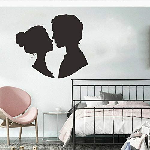 HGFDHG Besos Pareja Pared calcomanía Vinilo Puerta y Ventana Pegatinas Pareja decoración hogar Dormitorio Sala de Estar Arte romántico Mural