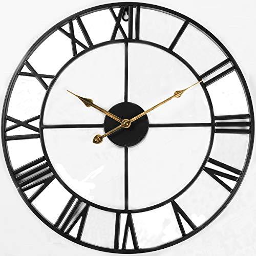 Evursua 24 inch Large Home Decor Wall Clock for Living Room Non Ticking Iron Art Clocks Roman Numeral,Retro Distressed Metal,Oversized (Black)