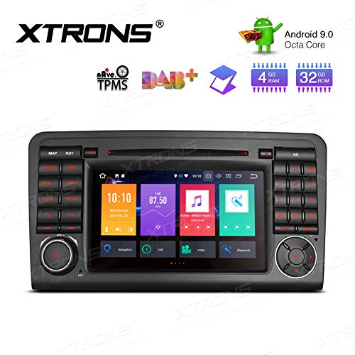 """XTRONS Android 10 Double Din Car Stereo Radio DVD Player Octa Core 4G RAM 64G ROM GPS Navigation 7"""" Touch Screen Head Unit Support Car Auto Play OBD DVR Backup Camera for Mercedes Benz W164 X164 ML GL"""
