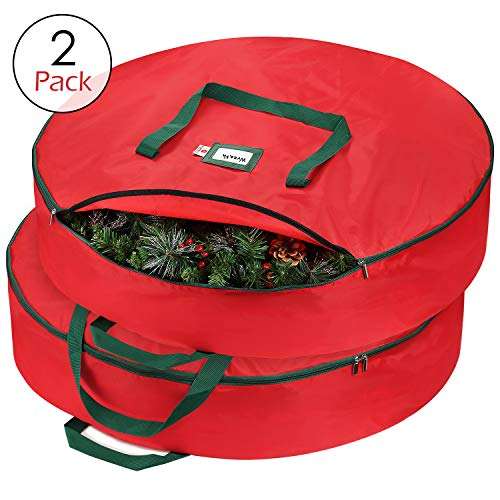 StorageMaid Wreath Storage Container Bag - 36-Inch Wreath Storage Box for Artificial Wreaths - Christmas Decoration Storage Made from Premium 420D Material with Handles & Zipper - 2 Pack