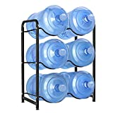 UMORNING 5 Gallon Water Bottle Holder, 3-Tier Water Cooler Jug Rack for 6 Bottles Heavy Duty Detachable Kitchen Organization and Storage Shelf, Black