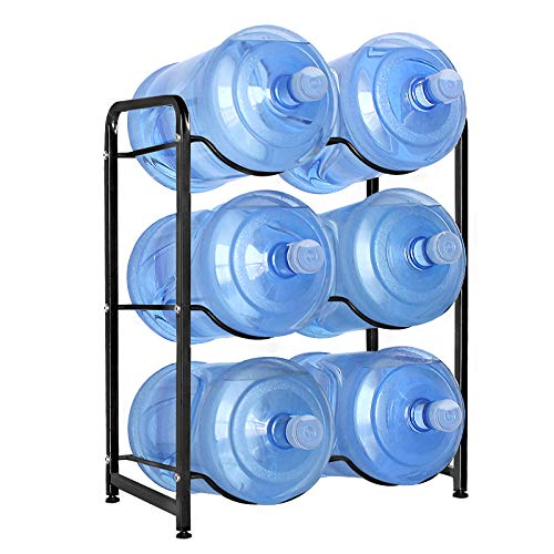 UMORNING 5 Gallon Water Bottle Holder 3-Tier Water Cooler Jug Rack for 6 Bottles Heavy Duty Detachable Kitchen Organization and Storage Shelf Black