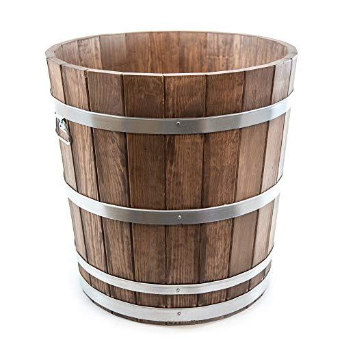 HolzFee Pflanzkübel rund Ø 60 x 60 cm Holz Kiefer Farbauswahl (Walnuss)