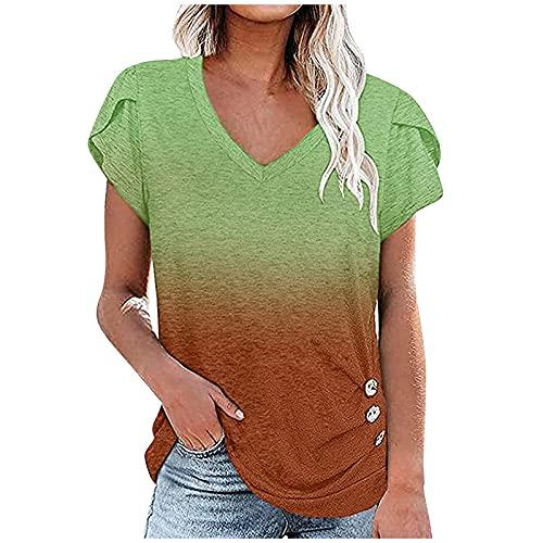 Camiseta de verano de manga corta para mujer, con degradado de color, camiseta suelta, camiseta con cuello en V para mujer, gradiente, informal, camisa, verde, L
