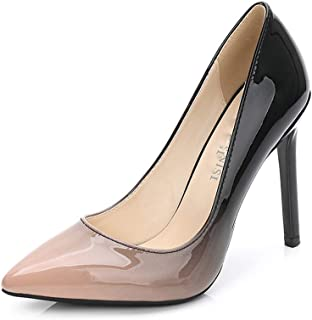Women's High Heels Pointed Shallow Mouth Stiletto Women's Shoes Gradient Color Patent Leather Large Size High Heels 11Cm