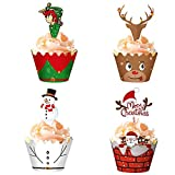 Unique Store Christmas Cupcake Toppers Wrappers, 48pcs Cake Muffin Decorations Cases, Xmas Cupcake Baking Cup, DIY Santa Claus Elf Snowman Reindeer Cupcake Decoration for Christmas Party