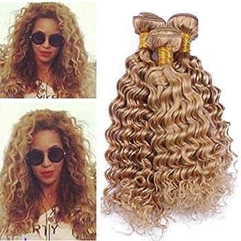 Tony Beauty Hair Honey Blonde Russian Virgin Human Hair Weaves Extensions Deep Wave Wavy #27 Strawberry Blonde Human Hair Bundles Deals 4Pcs 400Gram Tangle Free  24 26 28 30