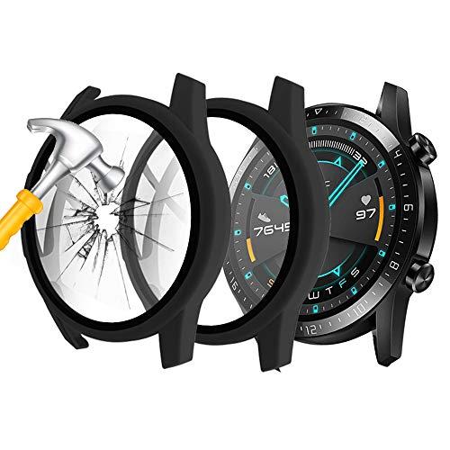 Seltureone (2 Stück) Kompatibles für Huawei Watch GT2 46mm Hülle Mit Panzerglas Bildschirmschutz, 360° R&um Schutzhülle Superdünne Schutz PC Hülle Cover für Huawei GT 2 (46mm), Schwarz
