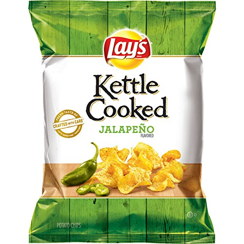 Lay's Kettle Cooked Jalapeno Flavored Potato Chips, 0.85 Ounce (Pack of 40)