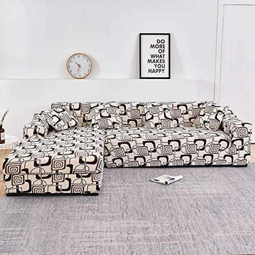 WXQY Funda de sofá Familiar, se Puede Utilizar para Chaise Longue de Esquina en Forma de L, Funda de sofá elástica, Funda de sofá elástica para Sala de Estar A16 de 4 plazas