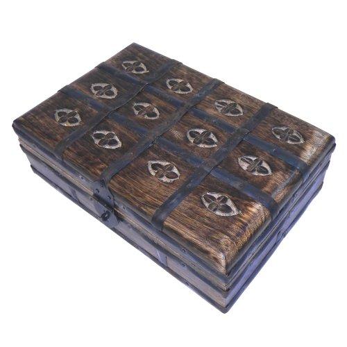 indischerbasar.de Coffret à bijoux Boîte de rangement Cassette Bois massif 23x15,5x8cm style antique Coffre au Trésor Accessoire décoration Artisanat d'art indien