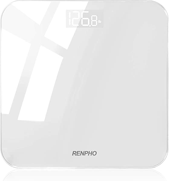 RENPHO Digital Bathroom Scale Highly Accurate Body Weight Scale With Lighted Display Step On Technology 400 Lb White