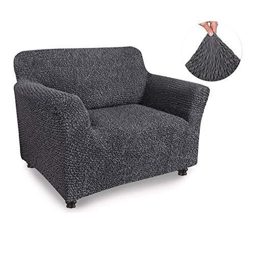 Menotti Ecksofa-Überzug in L-Form, für Sofa und Sessel, elastischer Stoff, canvas, anthrazit, 1 Seater