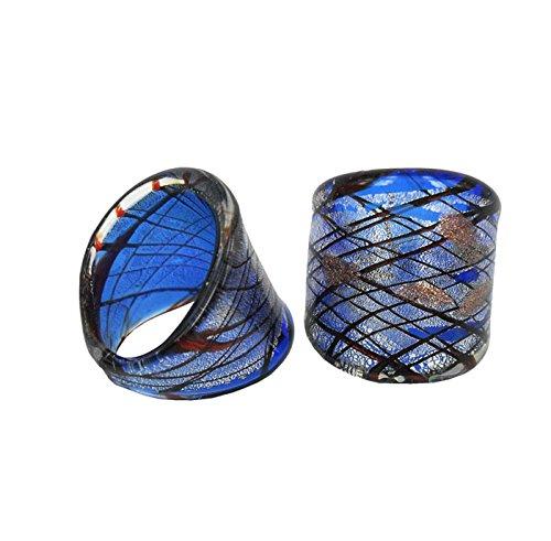 Perla Moda Ring Cabochon aus Murano-Glas handgefertigt (Die Größe:18)