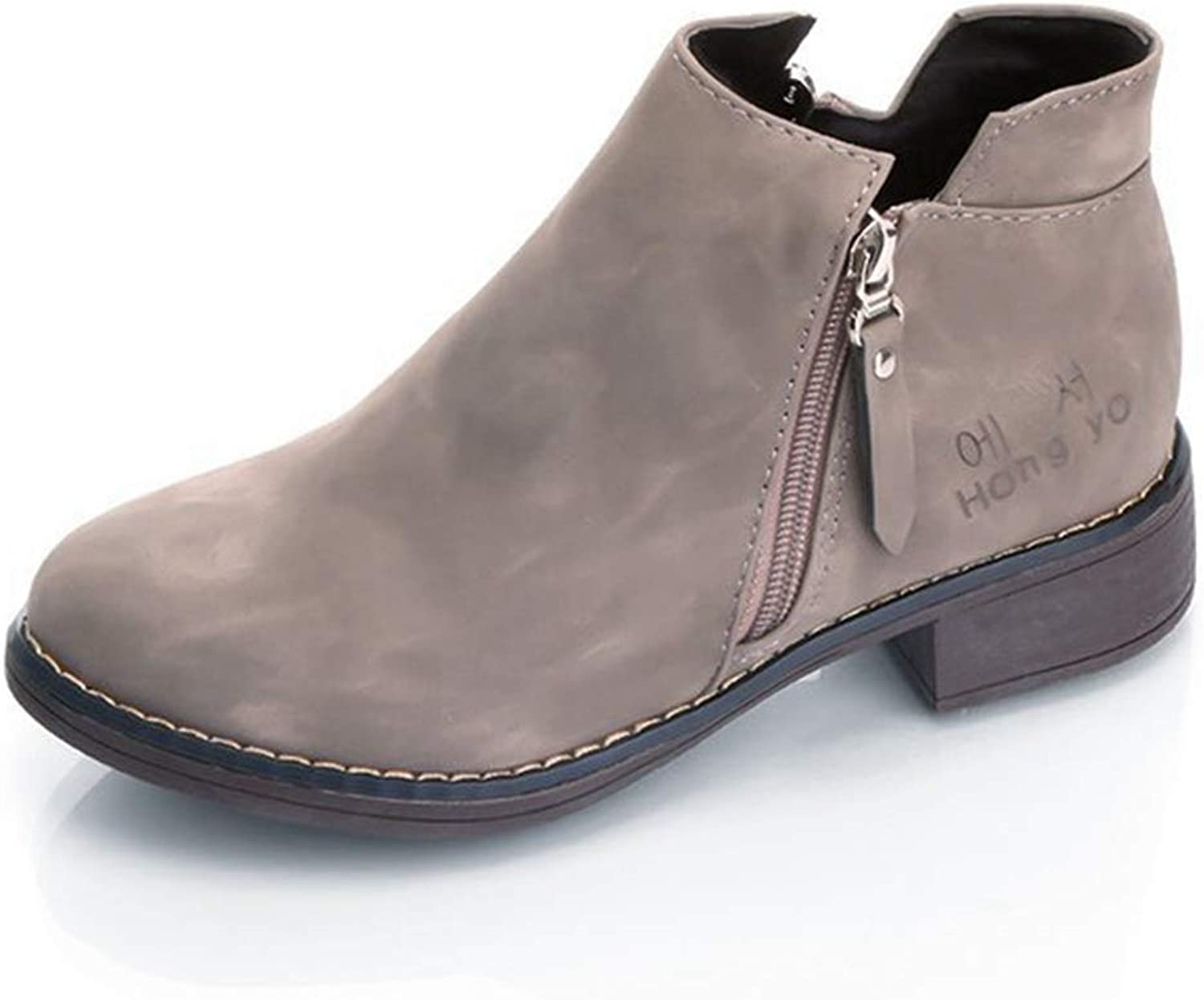 CYBLING Ankle Boots for Women Winter Low Heel Western Side Zipper Round Toe Solid color Suede
