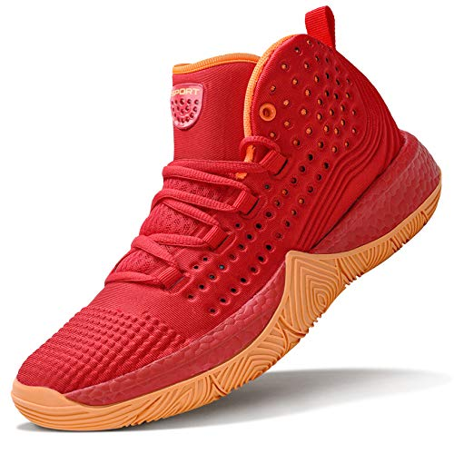 WETIKE Girls Basketball Shoes Big Kid Comfortable Shoes for Girls Hightop Sneakers Durable Basketball Shoes for Kids Non-Slip Youth Girls Basketball Shoes Fashion Shoes Size 6 Red