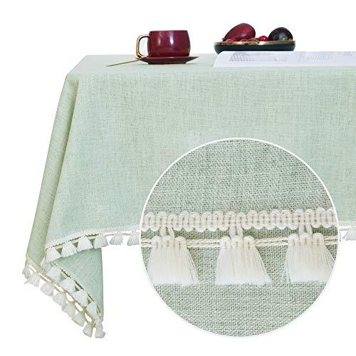 Deconovo Manteles Mesa de Salón Impermeable Moderno Mantel Rectangular con Borlas 140x200cm Verde Claro