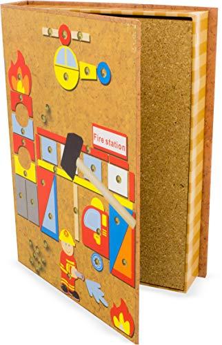Ulysse Couleurs d'Enfance- Puzzle Les P'tits Clous Scènes à recréer avec des Pompiers et de Nombreuses pièces-Plateau en liège, 23029