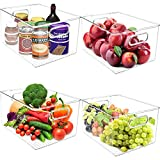 Greenco Set of 4 Stackable Fridge Bins Storage Container Organizsers, For Cabinets, Pantry, Closet