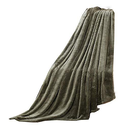 CXQD Manta de sofá de color sólido Beibei de malla de cachemir de piña, manta de invierno, colcha de oficina, siesta, coral, cachemira, verde militar (150 cm x 200 cm)