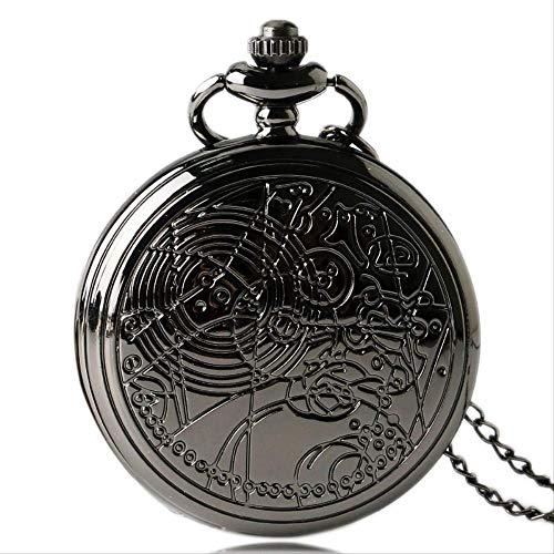 YYhkeby Pocket Watchull Hunter Black Long Cadena Retro Colgante Doctor Doct Collace Charm Quartz Reloj de Bolsillo Vintage Estilo Antiguo Jialele (Color : Style 1)