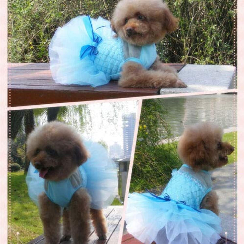 公園モルヒネフォーマットFidgetGear ペット犬猫チュチュキラキラドレスレーススカート子犬王女の結婚式の服装 青