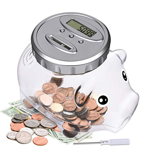 Digital Piggy Bank with Automatic LCD Display,Large Capacity Digital Counting Money Jar,Coin Bank as for Kids Friends Adults at Christmas,New Year's,Birthday