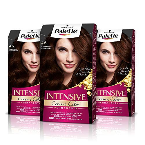 Palette Intense Cream Coloration Intensive Coloración del Cabello 4.6 Castaño Marrón - Pack de 3